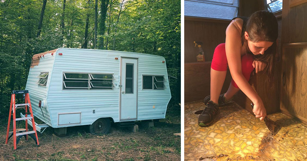 14 Year old girl bought an old caravan from 1974 and turned it single handedly into something amazing