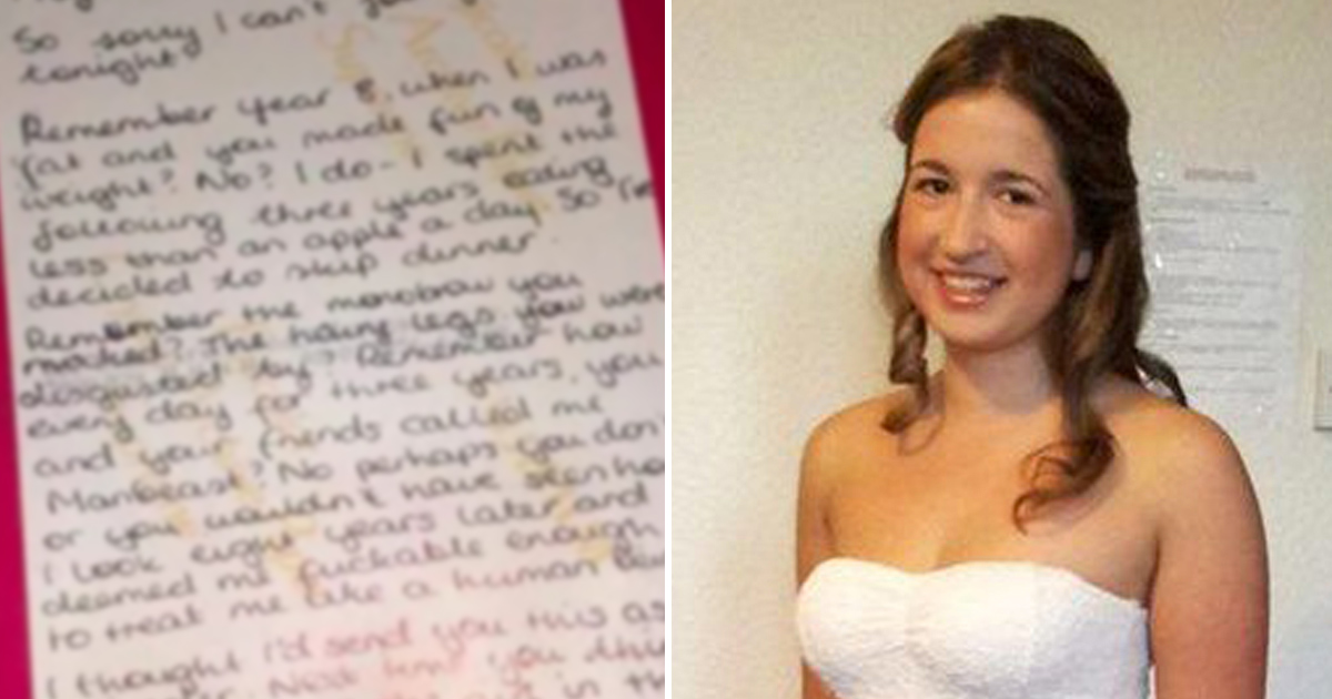 Louisa was a victim of daily bullying at school - 10 years later, her bully received a letter at the restaurant