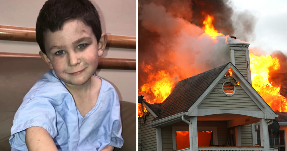 A 5-year-old carried his 2-year-old sister out of a burning home, ran back inside to saved the rest of the family