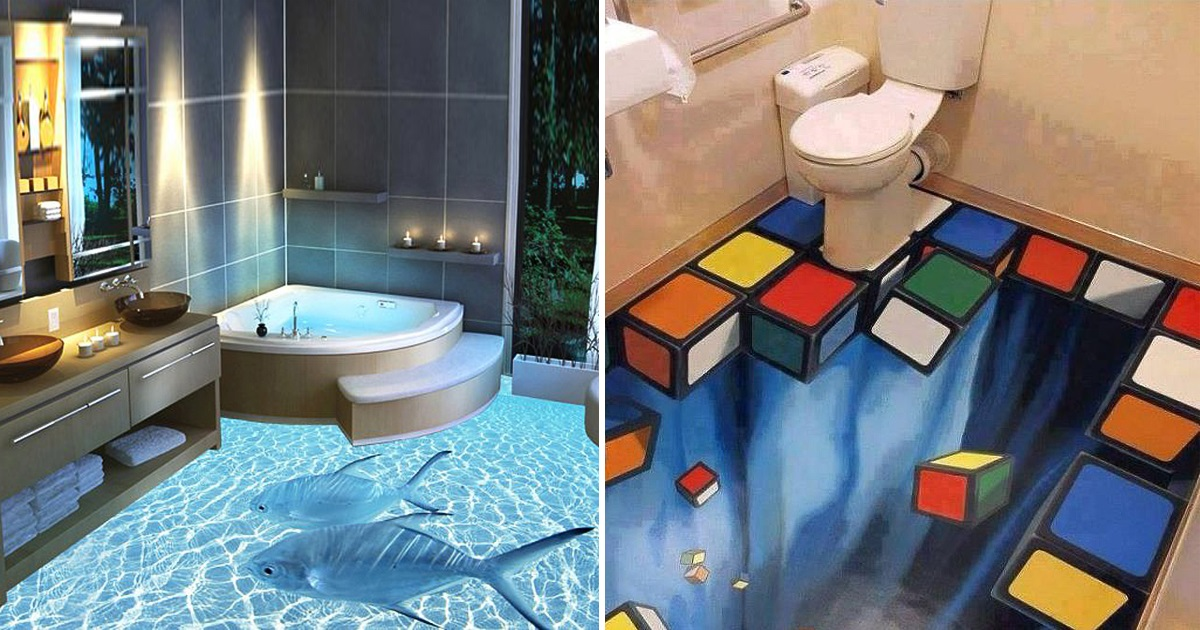 Murals are wonderful, but these 3D floors make the shower an absolutely crazy experience!